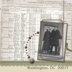 Use family letters, documents and records for a unique Heritage page background. This layout uses a copy of a Census record.