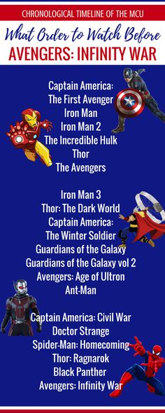 Marvel Movies to Watch In Order Before Avengers Infinity War of Marvel movies timeline in chronological order. #InfinityWar #Marvel #MCU #Avengers #MarvelMovies avengers movies in order