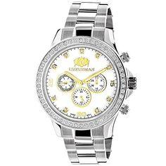 55ade221ce Luxurman Men s Diamond Watches  This Yellow   White Gold Plated Swiss  Quartz Liberty watch showcases 2 carats of genuine round diamonds yellow  and white ...