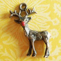 Vintage-Enamel-RUDOLPH-RED-NOSED-REINDEER-Sterling-Silver-Christmas-Xmas-Charm