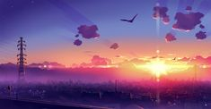 HD wallpaper: gray electric post and high rise buildings wallpaper, two birds soaring towards sunset wallpaper Wallpaper Kawaii, Wallpaper Für Desktop, Wallpaper Animes, Scenic Wallpaper, Aesthetic Desktop Wallpaper, Anime Scenery Wallpaper, Background Images Wallpapers, Sunset Wallpaper, Landscape Wallpaper