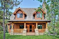 Wonderful 2 story, 2 bedroom, 2 bath log home plan! #loghomes
