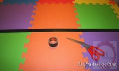 painted playmat tutorial, DIY kitchen mat, Gorilla tape