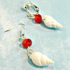 Earrings tiny seashells red crystals handmade clip on or pierced Pat2 #Pat2 #dropdangle