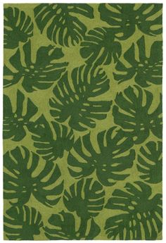 Create an island look in any room with this Green Palm Leaves Area rug with large dark green botanical fronds scattered across a lighter green background!