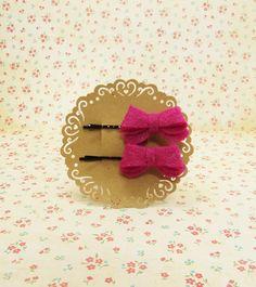 Handmade wool felt hair bow in Glitter Dark Pink to Bobby Hair Pin Clips #FB012 Set of 2PCS