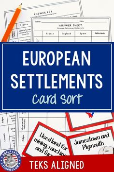 This student-centered card sort is an engaging activity for small groups! It reviews the European settlements in North America. A great idea for your middle school social studies classroom School Resources, Teacher Resources, First Day Of School, Middle School, 8th Grade History, World History Lessons, Social Studies Classroom, World Geography, Sorting Activities