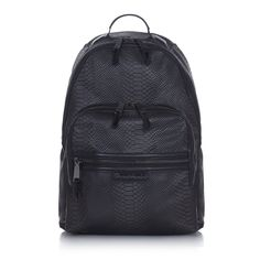 Black Elwood changing backpack from TIBA + MARL featuring a round top handle, a two way zip fastening, front zipped pockets, adjustable shoulder straps, a main internal compartment and a faux python pattern all over. Baby Changing Bags, Changing Mat, Black Backpack, Leather Backpack, Clutch Bag, Crossbody Bag, Baby Necessities, Luxury Handbags, Laptop Sleeves