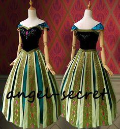 FJ721 Movies Frozen Snow Queen Anna Cosplay Costume coronation Dress KID ADULT #NA #BallGown #Formal