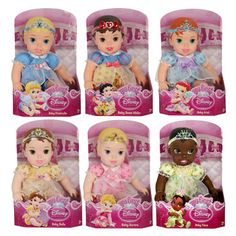 My First Disney Princess Baby Dolls she has the belle, Ariel, Snow White Disney Princess Baby Dolls, My First Disney Princess, Princess Toys, Disney Dolls, Baby Princess, Baby Disney, Baby Cinderella, Disney Princesses, Toddler Toys