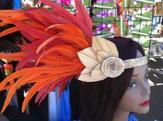 Lauhala and Feather side headpiece made by Hulamelani on etsy ~ nice costume idea