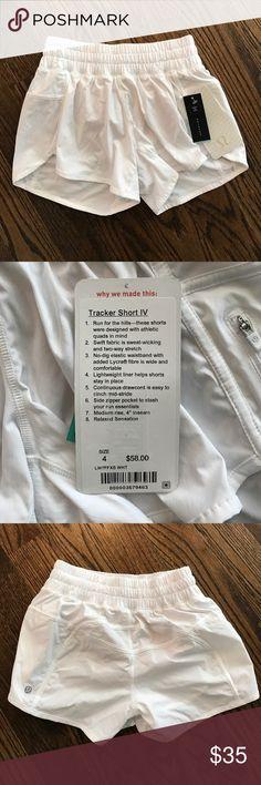 Lululemon Tracker Short in size 4 NWT Bright white Lululemon shorts, size 4, never been worn and with tags. lululemon athletica Shorts