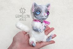 Grey White Cat OOAK Art Doll Mixed Media Polymer by Ermellin