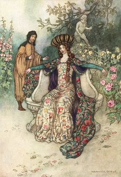 """'Do as you list, I will be ever known your thrall'. """"The complete poetical works of Geoffrey Chaucer"""" (1912). Illustration by Warwick Goble"""