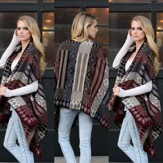 """CCO Geometric Print Poncho in MOCHA Geometric Pattern Poncho. Imported. Dimensions 72"""" X 25"""". 100% Acrylic. Do not purchase this listing, comment on size and a separate listing will be made. Offers placed on listing will be ignored. Thank you! Any questions please ask! Jackets & Coats"""