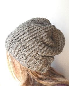 taupe knitted hat womens knit hat slouchy knit hat w by bungaloe, $48.00