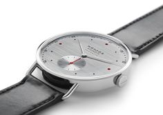 Smart and confident, the Silvercut is an excellent example of why Nomos timepieces have been favored among design professionals for years. Six O Clock, Automatic Watch, Watches, Black Leather, Jewels, Accessories, Boss, Style, Gnomes
