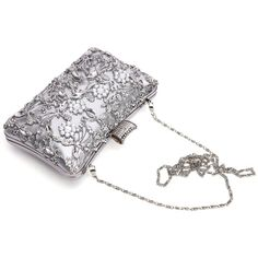 GESU Large Womens Crystal Evening Clutch Bag Wedding Purse Bridal Prom... ($33) ❤ liked on Polyvore featuring bags, handbags, clutches, white clutches, silver clutches, crystal evening bags, party clutches and silver evening bag