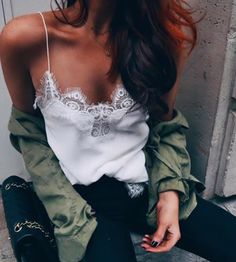 white lace + army green blouse