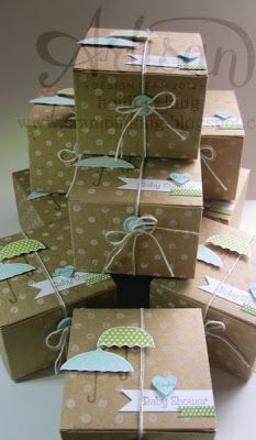 Some cute little craft boxes, decorated for a baby shower!