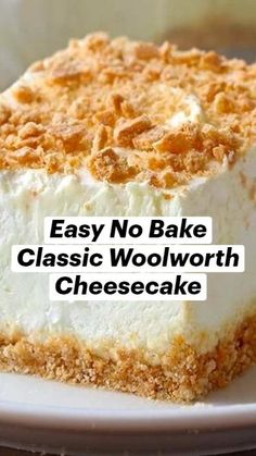Fluff Desserts, Cheesecake Desserts, No Cook Desserts, Easy Desserts, Delicious Desserts, Dessert Recipes, Yummy Food, Woolworth Cheesecake Recipe, Cupcake Cakes