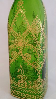 Hand painted green tinted glass bottle/ di SketchedNEmbellished