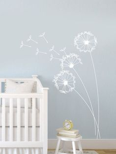 How gorgeous is this wall stickers for a nursery. I was thinking it could also be painted on in white paint and with a steady hand