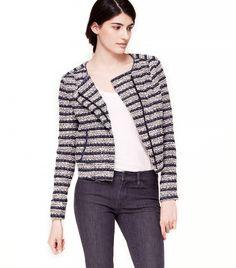 Collarless Stripe Zip Jacket