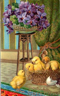 Easter Greetings ~*~ lovely vintage card with yellow baby chicks and violets ~*~ Easter Art, Easter Crafts, Vintage Easter, Vintage Holiday, Vintage Cards, Vintage Postcards, Easter Pictures, Easter Season, Easter Parade