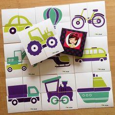 """PiaPolya Dört Parçalı Taşıtlar Görsellerini Tamamlama Kartları"""" 18 ay ve 36 ay arası çocuklar için uygundur. A3"""