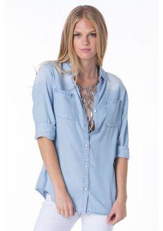 Say Something Denim Shirt in Light blue