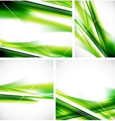 Green lines background set vector on VectorStock