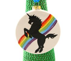 Unicorn Christmas ornament, ceramic christmas ornament, can be personalized with name or date Ornament only- other items pictured are photo props only