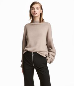 Check this out! Soft, fine-knit sweater with wool content. Turtleneck, low dropped shoulders, and wide sleeves. - Visit hm.com to see more.
