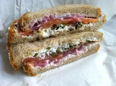 Lox and Cream: Cream cheese, smoked salmon, capers, and pickled red onions are all you need for this lox and cream sandwich. Put it in between wheat bread instead of a bagel to make it appropriate for lunch.