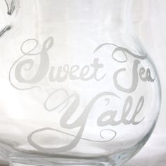 Sweet Tea Y'all- Etched Glass Pitcher, Dishwasher safe. Southern Kitchen decor and housewares by Milk and Honey.. $50.00, via Etsy.