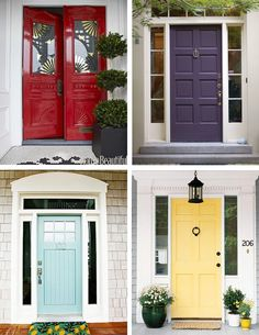 Quick and affordable way to boost your homes curb appeal by giving your front door a new coat of paint. I like all of these front doors!