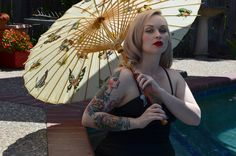 Beautiful Blond Retro/Modern Pin-up, Tatooed Beauty With Parasol at Pool- Artistic Portrait Photography - Color Art Print - 8 x 10 Portrait by PhotosbyMarilyn on Etsy