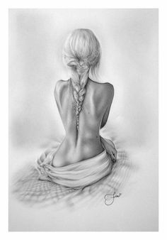 art, back, beautiful, black, black and white, braid, drawing, fashion, girl, hair, pencil, pencil art, skinny, black&white