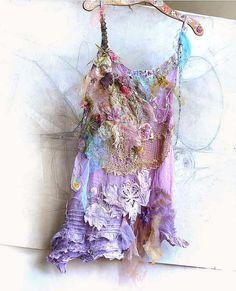 Unique Art to Wear Lavender Dress BASKET with FLOWERS Boho Tattered Hippie Cinderella Gipsy