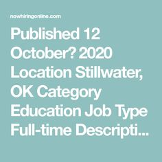 Published 12 October، 2020 Location Stillwater, OK Category Education  Job Type Full-time  Description This position specifically coordinates vision, AEM, L/C/D, transition, and UDL activities associated with Part B under the Individuals with Disabilities Education Act (IDEA) as required via a contract with the Oklahoma State Department of Education (OSDE). Coordinates contractual deliverables including ... Systems Development Life Cycle, Functional Analysis, Finding The Right Job, Accounting Jobs, Investing For Retirement, Leadership Activities, Good Communication Skills, Engineering Jobs