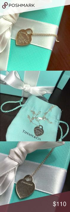 Tiffany & co  small silver heart necklace Wear as shown in pictures. Selling my silver  Tiffany & co small heart pendant and 18 inch chain . Sold together ONLY . Comes will box and dust bag Tiffany & Co. Jewelry Necklaces