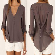 Deep V Neck Button Slim Waist Long Sleeves Chiffon Blouse - 4 colour
