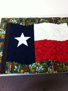 Texas wild flowers quilted flag