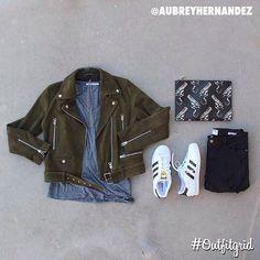 Today's top #outfitgrid is by @aubreyhernandez. ▫️#AlexanderWang #Tee ▫️#NastyGal #MotoJacket ▫️#Frame #Denim ▫️#424 #Chain ▫️#YSL #Bag ▫️#adidas #Superstar