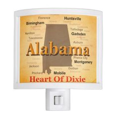 Aged Alabama State Pride Map Silhouette Night Lite