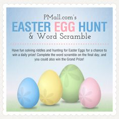 PersonalizationMall.com is having an awesome Easter Egg Hunt Contest! Each day they'll unveil a new riddle that will help you find the easter eggs that are hidden on their site ... this is so fun! you have to play!