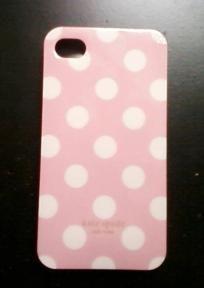 Kate Spade White Polka Dot Pink Iphone 4 Hard Case
