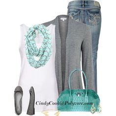 """""""Kaliko Light Grey Jersey Cardigan"""" Casual Outfit Set by Cindy (cindycook10) on Polyvore!!!"""
