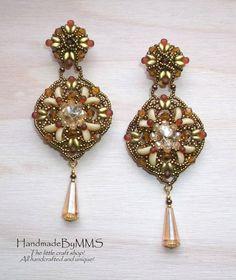 Beadwork Bollywood inspired kundan earrings by HandmadeByMMS